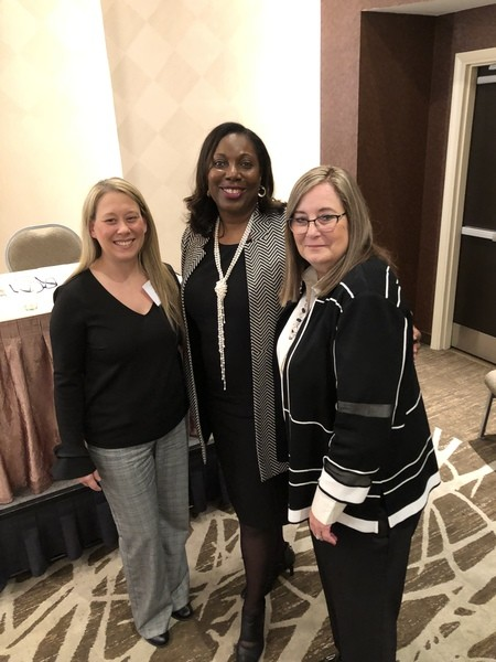 Jeannine Cain and Donna Crew with Wylecia Wiggs Harris, Ph.D., CAE, Chief Executive Officer, AHIMA