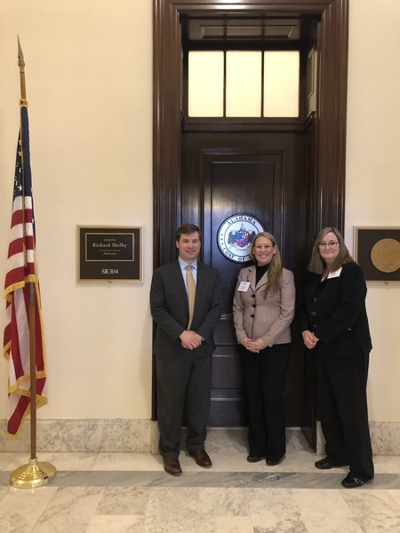 Jeannine Cain and Donna Crew with Senator Richard Shelby's Legal Assistant